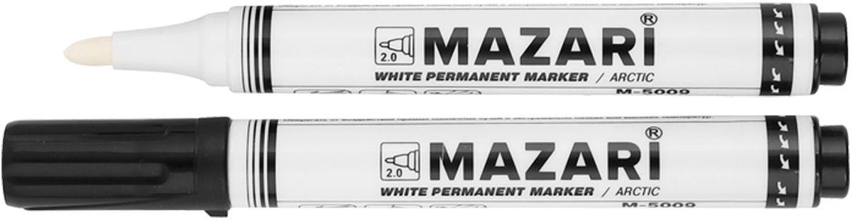 Mazari Маркер перманентный Arctic перезаправляемый цвет белый