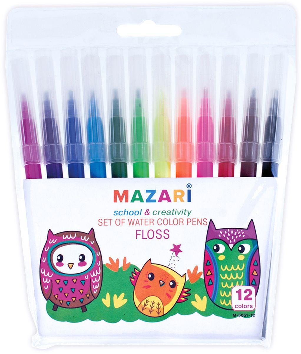 Mazari Набор фломастеров Floss 12 цветовМ-5051-12Фломастеры Floss, 12 цв.,вентилируемый колпачок,ПВХ-упаковка с европодвесом