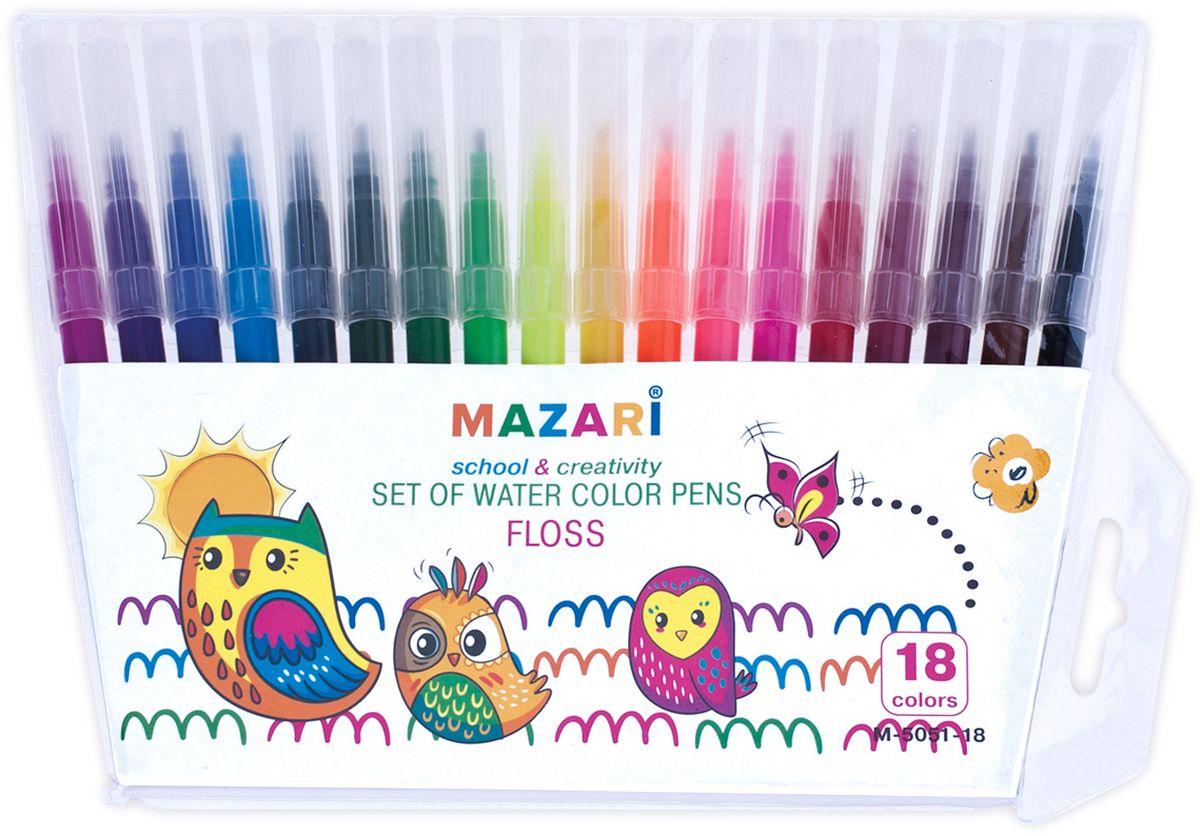 Mazari Набор фломастеров Floss 18 цветовМ-5051-18Фломастеры Floss, 18 цв.,вентилируемый колпачок,ПВХ-упаковка с европодвесом