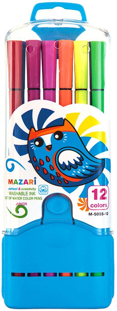 Mazari Набор фломастеров Junior 12 цветов М-5055-12М-5055-12Фломастеры JUNIOR, 12цв., вентилируемый колпачок, в пластиковом пенале