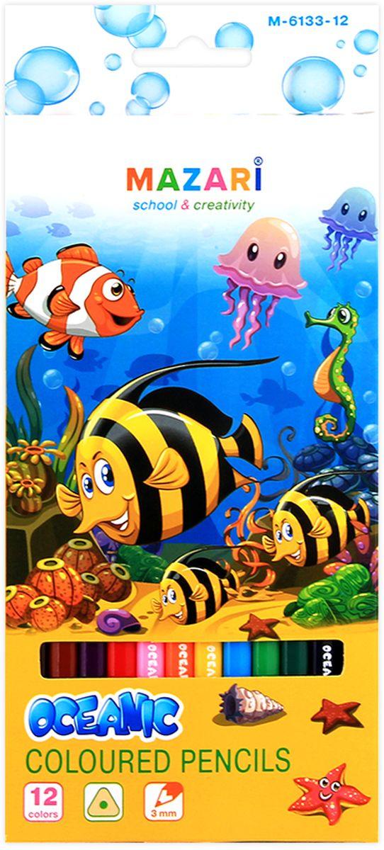Mazari Набор цветных карандашей Oceanic 12 цветовМ-6133-12Карандаши цветные OCEANIC, 12цв., трехгранный корпус, d грифеля=3 мм,картонная коробка с европодвесом