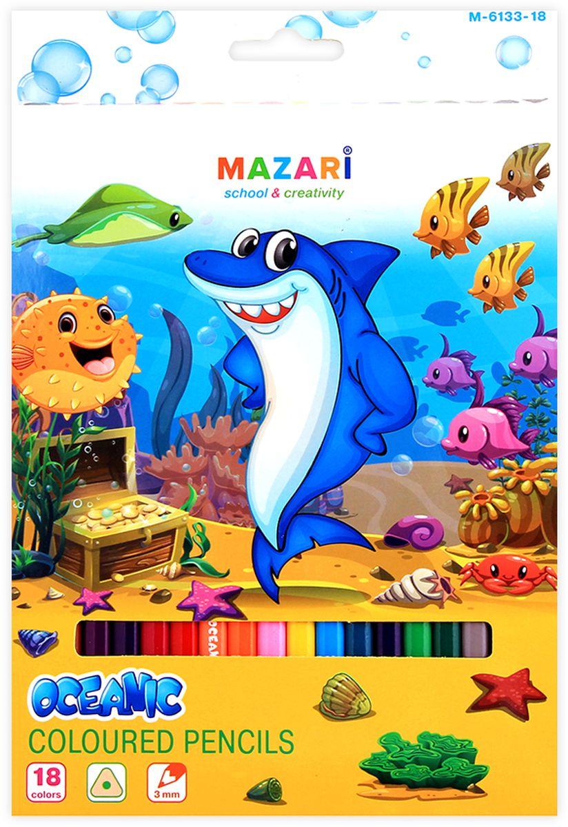 Mazari Набор цветных карандашей Oceanic 18 цветовМ-6133-18Карандаши цветные OCEANIC, 18цв., трехгранный корпус, d грифеля=3 мм,картонная коробка с европодвесом