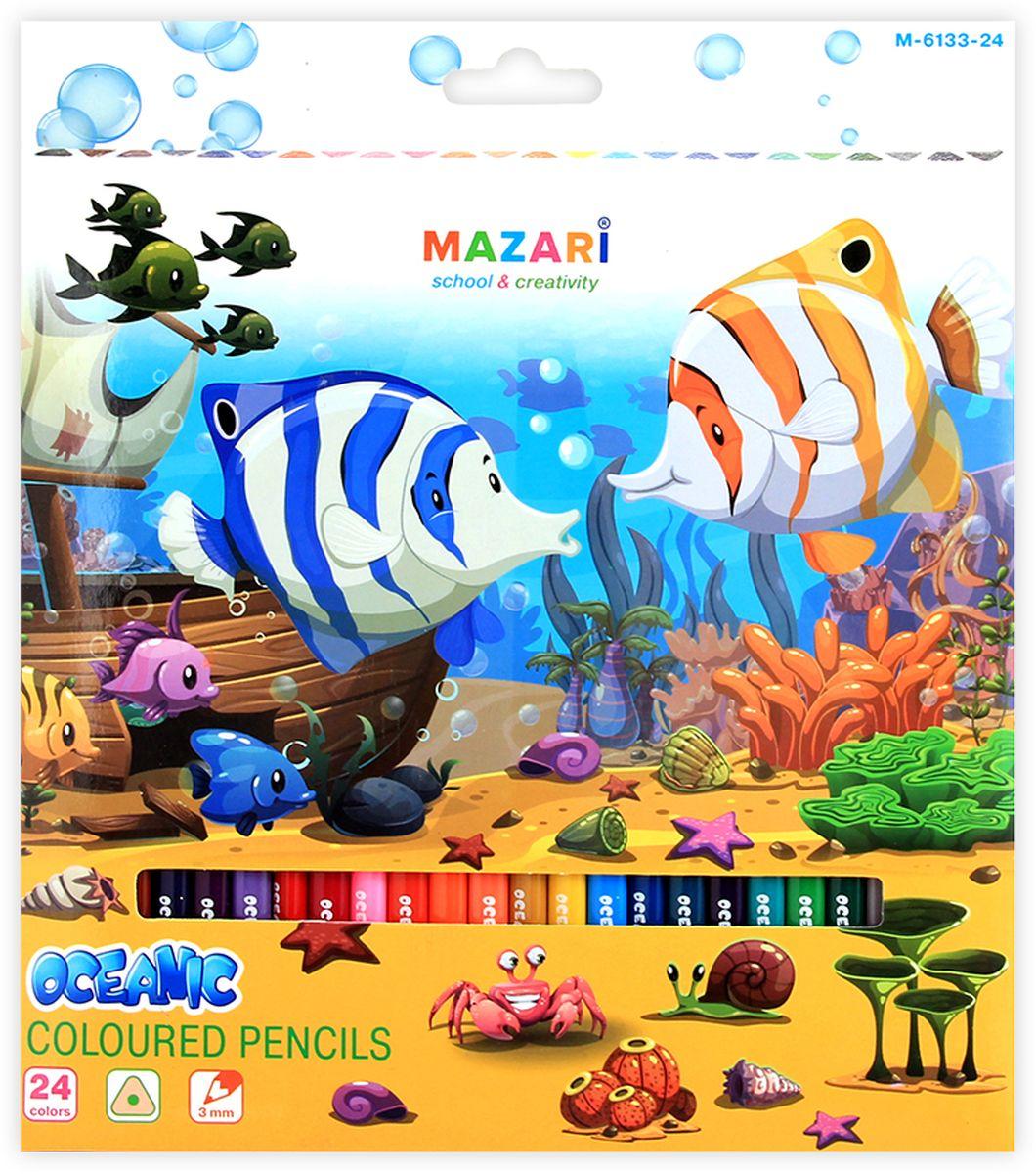 Mazari Набор цветных карандашей Oceanic 24 цветаМ-6133-24Карандаши цветные OCEANIC, 24цв., трехгранный корпус, d грифеля=3 мм,картонная коробка с европодвесом