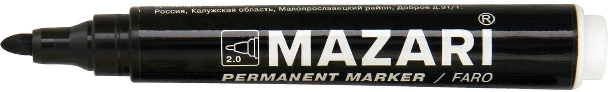 Mazari Маркер перманентный Faro цвет черныйМ-5002_черныйМаркер перманентный, FARO, ЧЕРНЫЙ, пулевидный пиш.узел 2 мм.