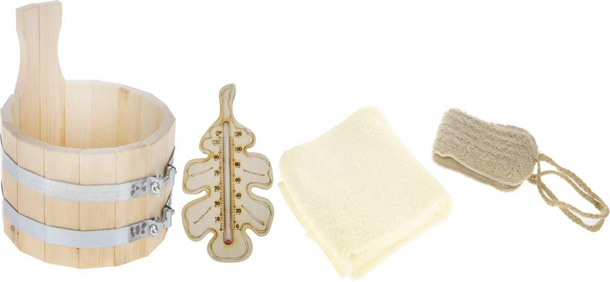 Набор для бани и сауны Доктор Баня Подарочный №1, 4 предмета905710Набор Подарочный №1 состоит из четырех необходимых предметов для бани и сауны. В набор входит удобная шайка, которая изготовлена из прочного дерева и стянута двумя металлическими обручами. Шайка прекрасно подойдет для замачивания веника и других банных процедур. Также в набор входят хлопковое полотенце, мягкая мочалка и термометр. Мочалка предназначена для мягкого очищения кожи. Прекрасно взбивает мыло и гель для душа, дает обильную пену, обладает легким массажным воздействием, идеально подходит для нежной и чувствительной кожи. Оригинальный термометр покажет температуру и не останется незамеченным для посетителей бани. Корпус термометра изготовлен из древесины в виде дубового листа. Диаметр шайки: 23 см. Высота шайки: 23 см. Размер полотенца: 50 х 90 см. Высота термометра: 25 см. Длина мочалки (без учета ручек): 38 см.
