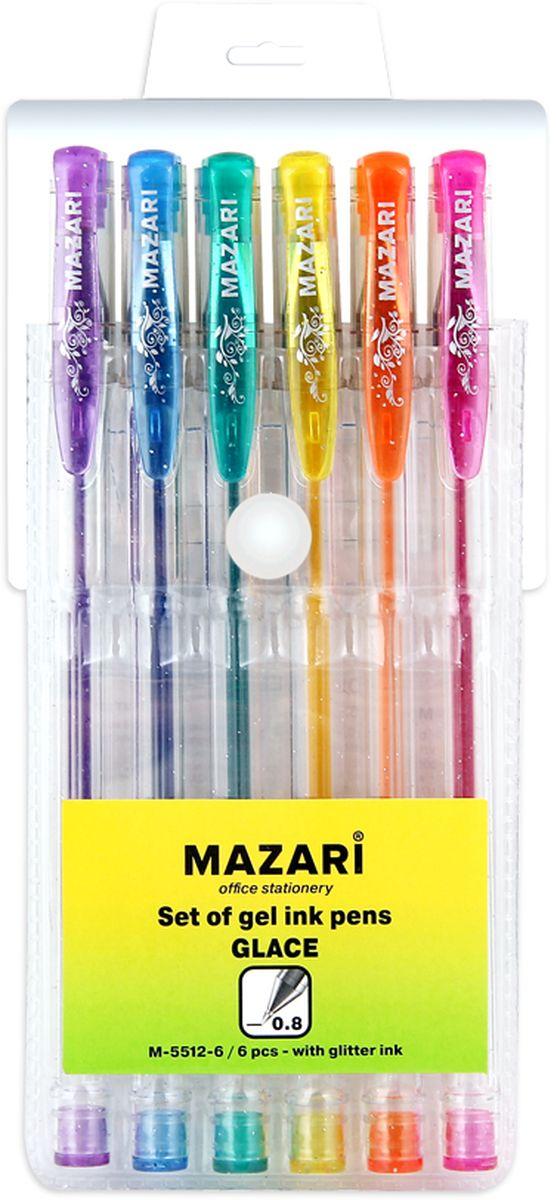 Mazari Набор гелевых ручек с блестками Glace 6 цветовМ-5512-6Набор гелевых ручек с блестками Glace, 6 цв., пулевидный пиш.узел 0.8мм, корпус пластиковый прозрачный, в ПВХ-упаковке