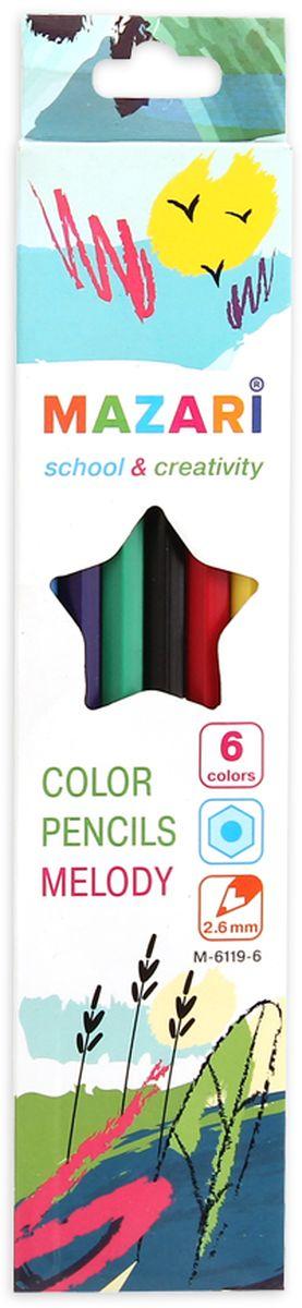 Mazari Набор цветных карандашей Melody 6 цветовМ-6119-6Карандаши цветные Mazari Melody предназначены для письма, рисования и черчения. Карандаши имеют шестигранную форму, диаметр грифеля - 2,6 мм. В наборе 6 карандашей ярких цветов.