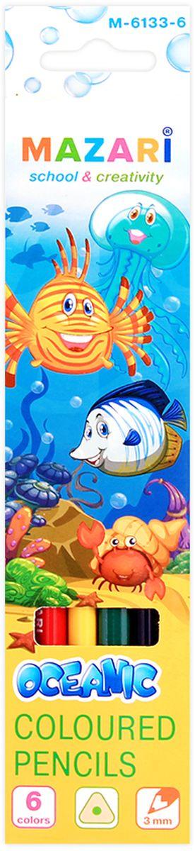 Mazari Набор цветных карандашей Oceanic 6 цветовМ-6133-6Карандаши цветные OCEANIC, 6цв., трехгранный корпус, d грифеля=3 мм,картонная коробка с европодвесом