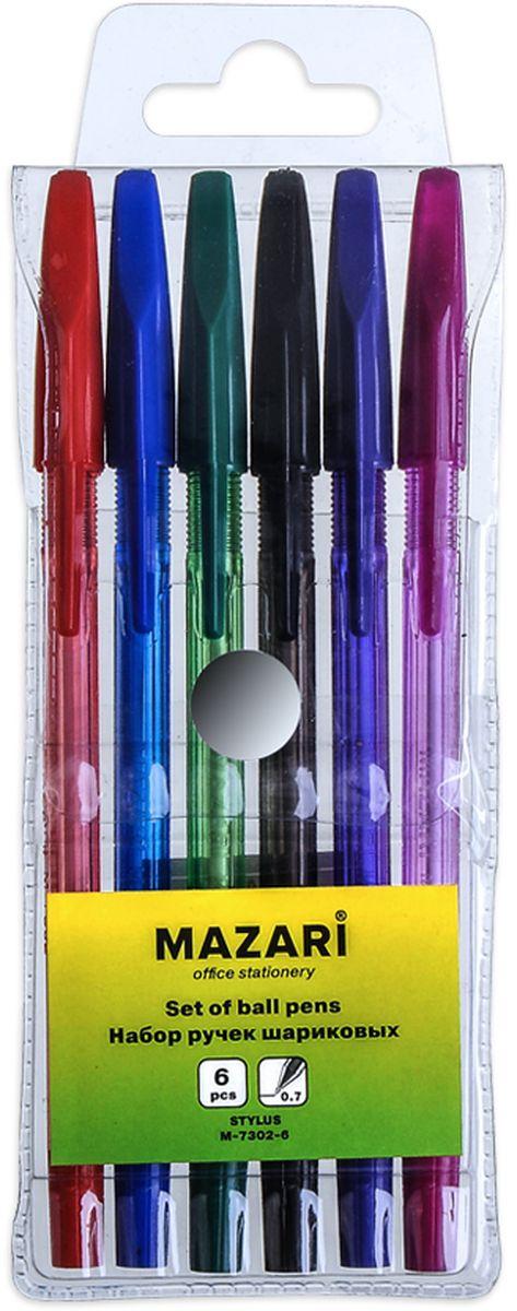 Mazari Набор шариковых ручек Stylus 6 цветовМ-7302-6Набор шариковых ручек Mazari Stylus состоит из шести разноцветных ручек (синий, красный, зеленый, черный, фиолетовый, розовый). Ручки пишут яркими насыщенными цветами. Ручки имеют пулевидный пишущий узел 0,7 мм. Корпус ручек изготовлен из качественного цветного пластика. Ручки отлично подойдут и для письма, и просто для подчеркивания.