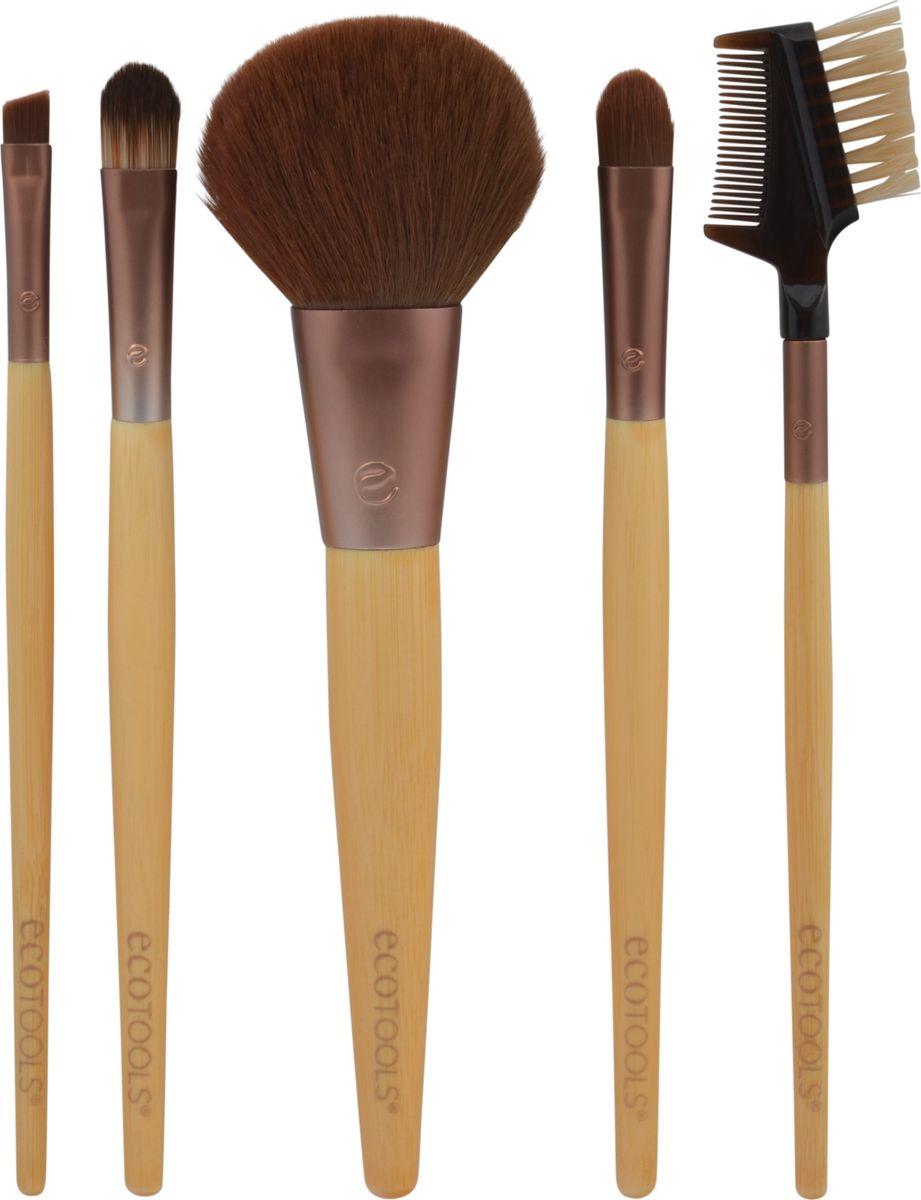 EcoTools Набор кистей для макияжа 6-piece Brush Set - Multilingual1206MВ набор входят кисть для нанесения корректора, растушевки теней, для подводки, для ресниц и бровей, и удобный клатч, который можно использовать для хранения кистей и декоративной косметики. Мягкий синтетический ворс, основание из переработанного алюминиевого материала и гладкая бамбуковая ручка делают кисти удобными в использовании и прочными.