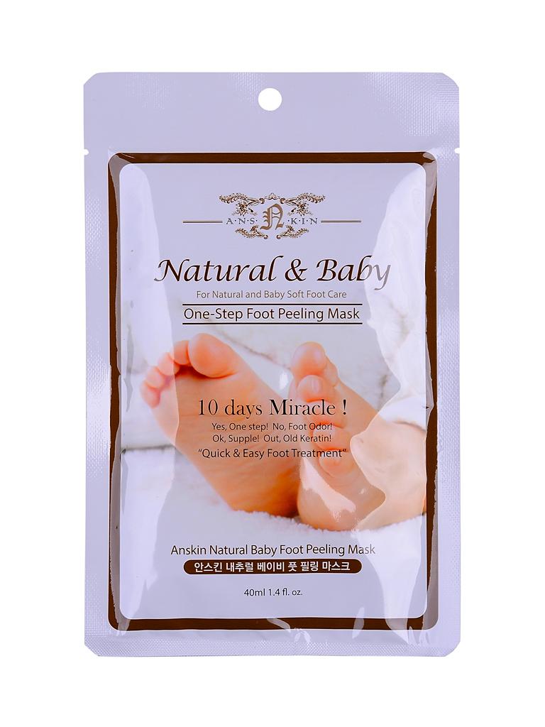 Anskin Пилинг для ног Natural Baby Foot Peeling Mask Sheet, 40 мл*1АН27Через 2 недели после использования, кожа на ножках полностью обновляется и становится нежной и розовой.