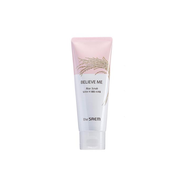 The Saem Скраб для лица Believe Me Rice Scrub, 80 млСМ2236Рисовый скраб нежно очищает кожу от ороговевших чешуек кожи. Восстанавливает чистый, прозрачный тон кожи. Обладает питательным и увлажняющим действием, восстанавливает текстуру кожи, Содержит масло риса, оливы, настой рисовых отрубей экстракт риса и т.д. В нем сохранены все полезные вещества, благодаря методу перегонки водяным паром. Призван бороться с преждевременным старение, освежать и смягчать кожу. Насыщенный аминокислотами и минералами экстракт риса дает коже необходимые ей питательные вещества и укрепляет защитный барьер.