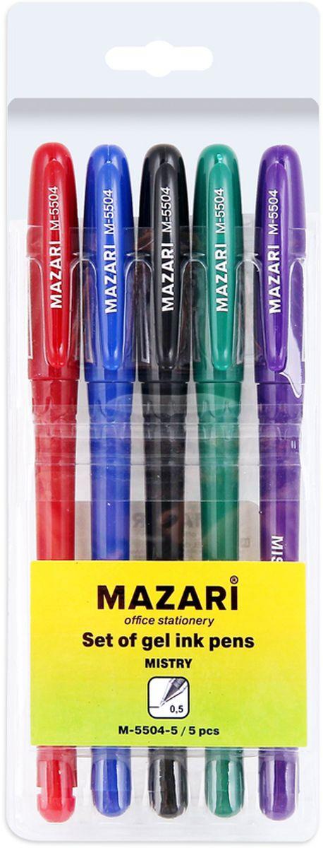 Mazari Набор гелевых ручек Mistry 5 цветовМ-5504-5Набор разноцветных гелевых ручек Mazari Mistry отлично подойдет для школы или офиса. Гелевая ручка имеет пулевидный пишущий узел 0,5 мм. Качественные гелевые чернила не требуют давления на пишущую поверхность, обеспечивая чёткие и плавные линии, а пластиковый цветной корпус с резиновым грипом позволяет контролировать их расход. В наборе: 5 ручек красного, зеленого, синего, фиолетового и черного цвета.