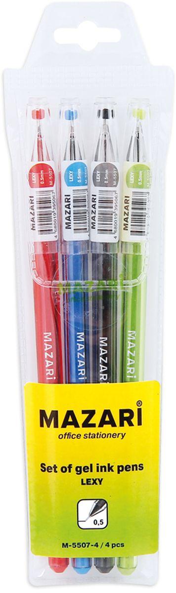 Mazari Набор гелевых ручек Lexy 4 цветаМ-5507-4Набор гелевых ручек Lexy, 4 цв., игольчатый пиш.узел 0.5мм,наконечник в форме кристалла, корпус пластиковый цветной, в ПВХ-упаковке