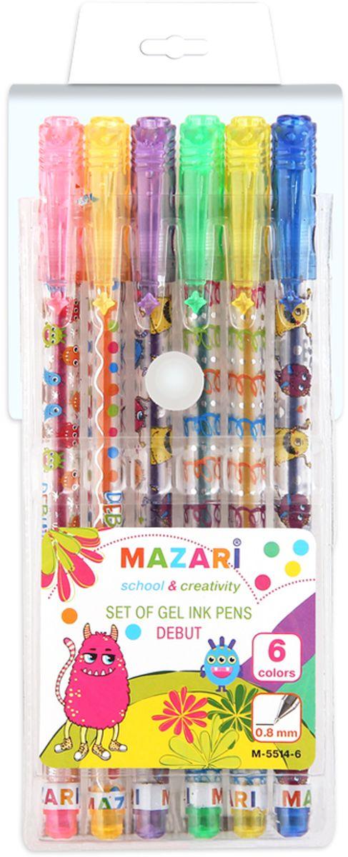 Mazari Набор гелевых ручек с блестками Debut 6 цветовМ-5514-6Набор гелевых ручек с блестками Debut, 6 цв., пулевидный пиш.узел 0.8мм, корпус пластиковый цветной, в ПВХ-упаковке