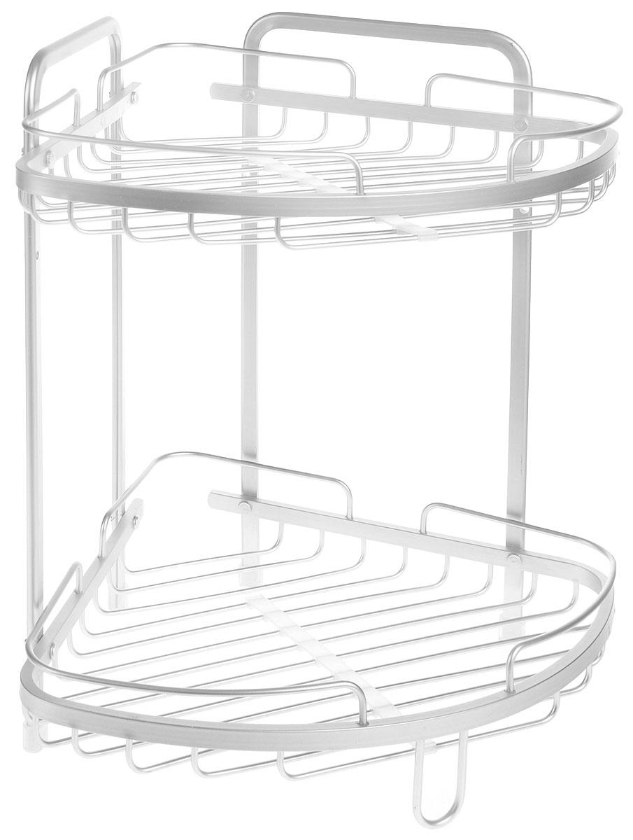 Полка для ванной комнаты Wonder Worker Astra, угловая, 2-ярусная, 26 х 26 х 37 см80074Угловая подвесная полка Wonder Worker Astra, выполненная из анодированного алюминия, сэкономит место в ванной комнате или на кухне. Полка подвешивается с помощью саморезов (входят в комплект), либо устанавливается на ножки с силиконовой поверхностью. Изделие имеет две полки для хранения различных средств гигиены, которые всегда будут под рукой. Благодаря компактным размерам, полка впишется в интерьер вашего дома, а также позволит удобно и практично хранить предметы домашнего обихода. Общий размер полки: 26 х 26 х 37 см.