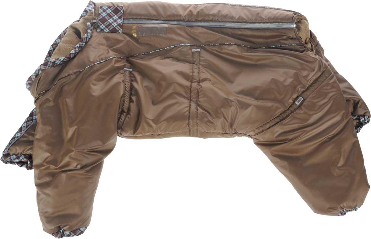Комбинезон для собак Dogmoda Doggs, зимний, для девочки, цвет: коричневый. Размер XXLDM-140541_коричневый, клеткаКомбинезон для собак Dogmoda Doggs отлично подойдет для прогулок в зимнее время года. Комбинезон изготовлен из полиэстера, защищающего от ветра и снега, с утеплителем из синтепона, который сохранит тепло даже в сильные морозы, а на подкладке используется искусственный мех, который обеспечивает отличный воздухообмен. Комбинезон застегивается на молнию и липучку, благодаря чему его легко надевать и снимать. Молния снабжена светоотражающими элементами. Низ рукавов и брючин оснащен внутренними резинками, которые мягко обхватывают лапки, не позволяя просачиваться холодному воздуху. На вороте, пояснице и лапках комбинезон затягивается на шнурок-кулиску с затяжкой. Модель снабжена непромокаемым карманом для размещения записки с информацией о вашем питомце, на случай если он потеряется. Благодаря такому комбинезону простуда не грозит вашему питомцу и он не даст любимцу продрогнуть на прогулке. Обхват шеи: 76 см. Обхват груди:...