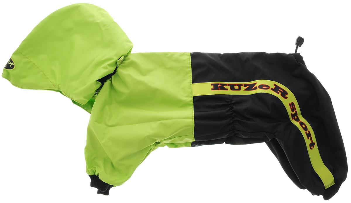 Комбинезон для собак Kuzer-Moda Пилот, для мальчика, двухслойный, цвет: черный, салатовый. Размер XLKZ002731Комбинезон Kuzer-Moda Пилот предназначен для собак мелких пород. Изделие отлично подойдет для прогулок в прохладную погоду. Комбинезон с капюшоном изготовлен из прочной ткани, которая сохранит тепло и обеспечит отличный воздухообмен. Комбинезон застегивается на кнопки, благодаря чему его легко надевать и снимать. Ворот, низ рукавов и брючин оснащены резинками, которые мягко обхватывают шею и лапки, не позволяя просачиваться холодному воздуху. На пояснице имеются затягивающиеся шнурки, которые также помогают сохранить тепло. Благодаря такому комбинезону простуда не грозит вашему питомцу, и он не даст любимцу продрогнуть на прогулке. Длина по спинке: 37 см. Обхват шеи: 20 см.