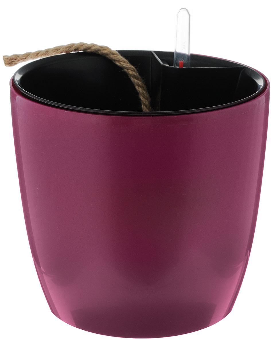 Горшок для цветов Техоснастка Комфорт, с автополивом, цвет: пурпурный, черный, 3,5 лПИ-25-2ТХ_пурпурный, черная вставкаГоршок с автополивом Техоснастка Комфорт - настоящая находка для людей, которые любят живые растения, но в силу нехватки времени не могут обеспечить им своевременный полив. Изделие выполнено из высококачественного полипропилена. Система автополива работает по принципу капиллярного поднятия жидкости к корням растения. Устроен такой горшок следующим образом: в основной горшок устанавливается съёмный горшок, в котором находятся водовод и земельный субстрат, обеспечивающие доставку воды к корням, сбоку - поливочные отверстия и индикатор уровня воды. В первые недели после посадки растения в горшок вода поливается обычным способом, чтобы земля и корни напитались влагой. Она наливается во внешнюю часть горшка в поливочные отверстия и по фитилю поднимается вверх, увлажняя грунт, одного полива хватает примерно на 2-3 недели (это зависит от растения, времени года и климатических условий окружающей среды). Затем следят за индикацией уровня воды....