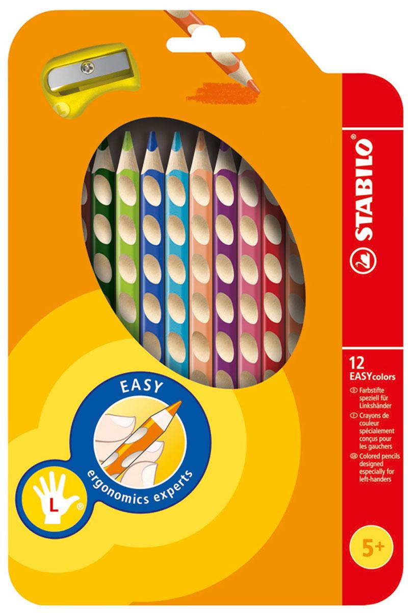 Набор цветных карандашей Stabilo Easycolors для левшей, 12 цветов331/12Преимущества карандашей STABILO EASYcolors. Специальные углубления на корпусе карандаша подсказывают ребенку как располагать большой и указательный пальцы, прививая первоначальный навык правильно держать пишущий инструмент. Расположение углубление по всей длине корпуса обеспечивает правильное удержание карандаша ребенком при письме и рисовании даже после заточки карандаша. С течением времени навык автоматически закрепляется в памяти ребенка, позволяя ему быстрее и легче адаптироваться к процессу обучения письму, освоить правильную технику письма и сделать письмо красивым и быстрым. Создают максимальный комфорт для ребенка - трехгранная форма карандаша соответствует естественному захвату руки, уменьшая мышечные усилия, необходимые для его удержания, - ребенок может рисовать длительное время без ощущения усталости. Утолщенная форма корпуса облегчает удержание карандашей детьми с недостаточно развитой мелкой моторикой руки. Карандаши разработаны с учетом особенностей строения...