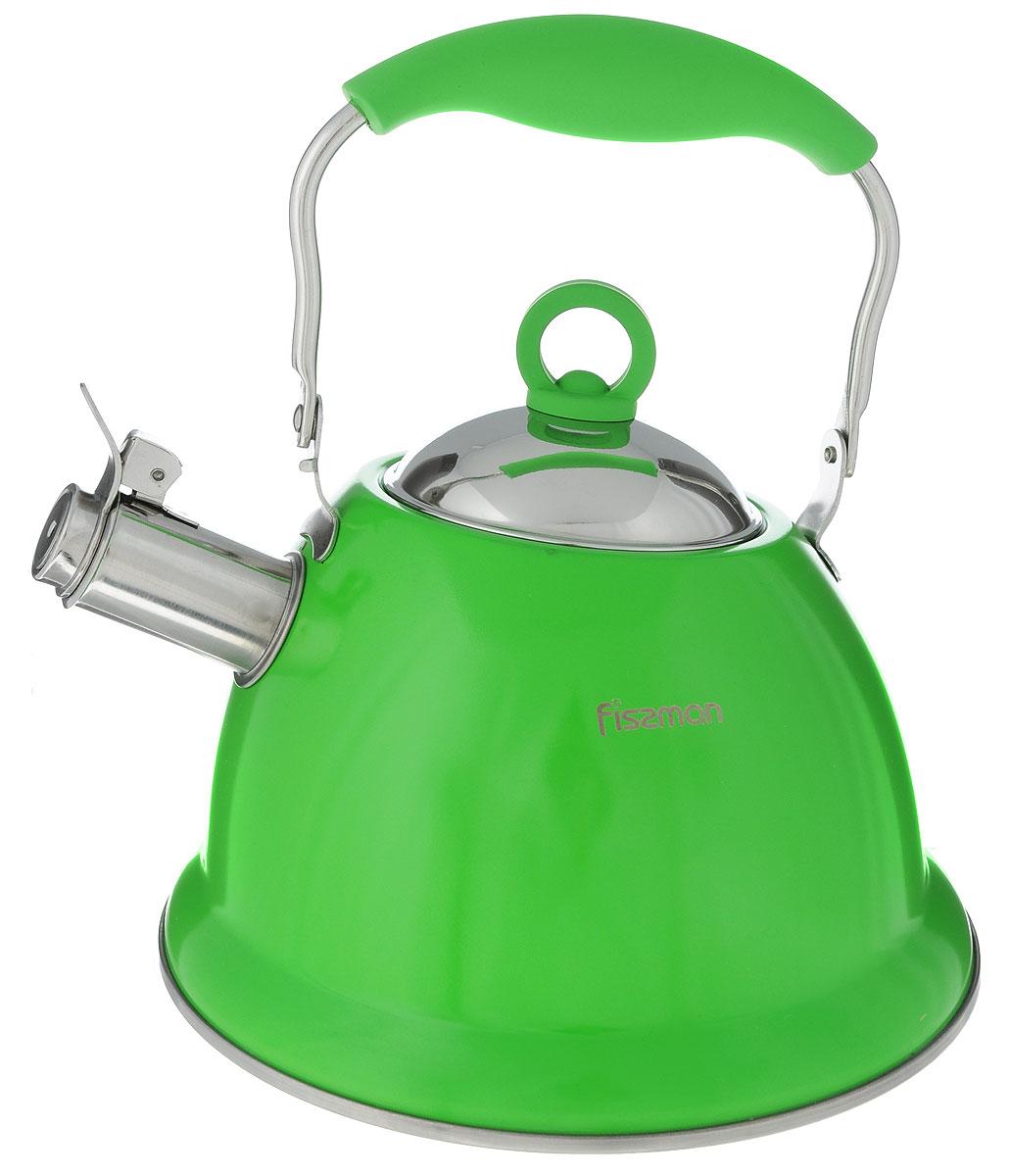 Чайник Fissman Florence, со свистком, цвет: зеленый, 2,6 лKT-5930.2.6_зеленыйЧайник Fissman Florence изготовлен из высококачественной нержавеющей стали 18/10. Нержавеющая сталь обладает высокой устойчивостью к коррозии, не вступает в реакцию с холодными и горячими продуктами и полностью сохраняет их вкусовые качества. Особая конструкция капсулированного дна способствует высокой теплопроводности и равномерному распределению тепла. Чайник оснащен удобной ручкой с силиконовым покрытием. Носик чайника имеет откидной свисток, звуковой сигнал которого подскажет, когда закипит вода. Благодаря чайнику Fissman Florence, вы будете постоянно ощущать тепло и уют на вашей кухне. Подходит для газовых, электрических, стеклокерамических, индукционных плит. Можно мыть в посудомоечной машине. Диаметр чайника (по верхнему краю): 9,5 см. Высота чайника (без учета крышки и ручки): 13 см. Высота чайника (с учетом ручки): 25,5 см.