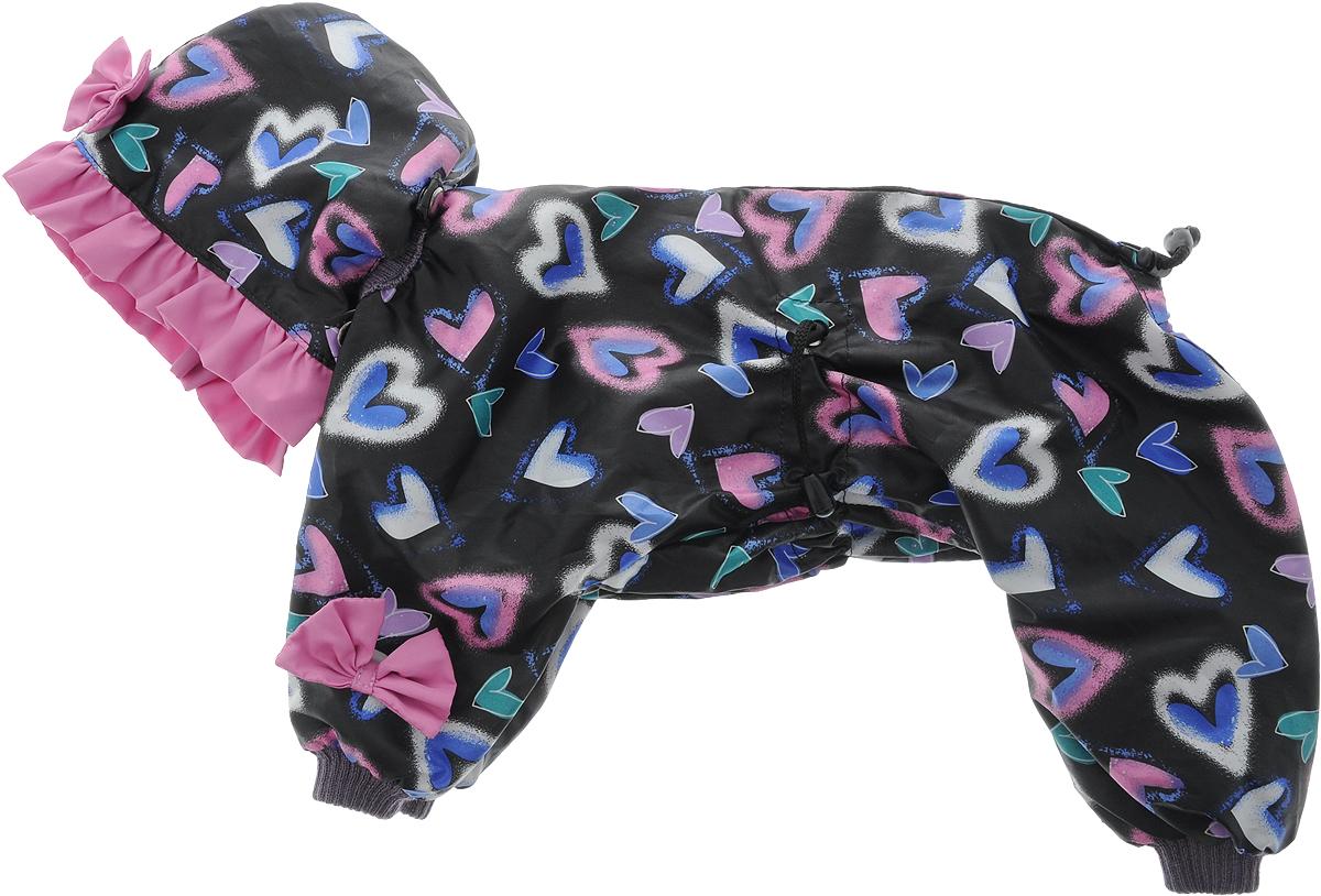 Комбинезон для собак Kuzer-Moda Мариска, для девочки, двухслойный, цвет: черный, розовый, синий. Размер 27KZ002310/черныйЯркая и нарядная модель для девочек. Из набивной плащевой ткани, украшен однотонными рюшами и забавными бантиками на передних лапках. Яркий и нарядный комбинезон Kuzer-Moda Мариска предназначен для собак мелких пород. Изделие отлично подойдет для прогулок в прохладную погоду. Комбинезон изготовлен из набивной плащевой ткани, которая сохранит тепло и обеспечит отличный воздухообмен, и украшен однотонными рюшами и забавными бантиками на передних лапках. Комбинезон застегивается на кнопки и липучки, благодаря чему его легко надевать и снимать. Ворот, низ рукавов и брючин оснащены резинками, которые мягко обхватывают шею и лапки, не позволяя просачиваться холодному воздуху. На пояснице имеются затягивающиеся шнурки, которые также помогают сохранить тепло. Благодаря такому комбинезону простуда не грозит вашему питомцу, и он не даст любимцу продрогнуть на прогулке. Размер: 27. Обхват груди: 45 см. Длина спинки: 33 см.