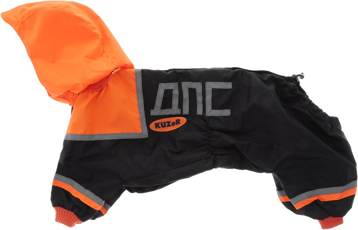 Комбинезон для собак Kuzer-Moda МЧС, для мальчика, двухслойный, цвет: черный, оранжевый. Размер LKZ001737Комбинезон для собак Kuzer-Moda МЧС отлично подойдет для прогулок в прохладную погоду. Он стилизован под форму спасателей. Комбинезон изготовлен из прочной ткани, которая сохранит тепло и обеспечит отличный воздухообмен. Комбинезон с капюшоном застегивается на кнопки, благодаря чему его легко надевать и снимать. Ворот, низ рукавов и брючин оснащены трикотажными резинками, которые мягко обхватывают шею и лапки, не позволяя просачиваться холодному воздуху. На пояснице имеются затягивающиеся шнурки, которые также не позволяют проникнуть холодному воздуху. Благодаря такому комбинезону простуда не грозит вашему питомцу, и он не даст любимцу продрогнуть на прогулке. Длина по спинке: 36 см. Обхват шеи: 20 см.