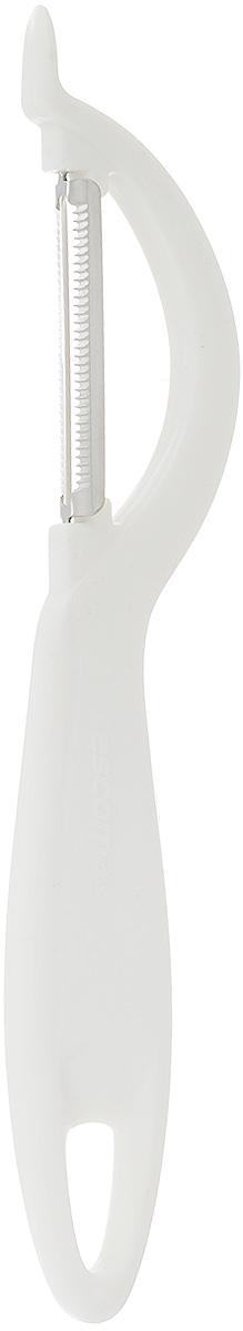 Овощечистка Tescoma Presto, с зубчатым лезвием, длина 19 см420110Овощечистка Tescoma Presto изготовлена из прочного пластика, а зубчатое лезвие - из высококачественной нержавеющей стали. Отлично подходит для быстрой и легкой очистки овощей и фруктов с мягкой кожурой, например, помидоров, киви, яблок, грибов. Можно мыть в посудомоечной машине. Длина лезвия: 5 см. Общая длина овощечистки: 19 см.