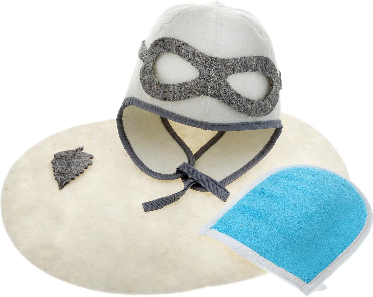 Набор для бани и сауны Главбаня Пилот, цвет: белый, синий, 3 предмета. Б32302Б32302_белый,синяя мочалкаНабор для бани и сауны Главбаня Пилот состоит из необходимых аксессуаров, для того, чтобы банный поход принес вам только радость. В набор входят: - Шапка из войлока, выполненная в виде лётного шлема. Это незаменимая вещь в парной. Она необходима для того, чтобы не перегреть голову. - Мочалка средней жесткости из крапивы и хлопка. Оказывает нежное массажное и прекрасное отшелушивающее воздействие на кожу. - Коврик из войлока, украшенный аппликацией в виде листочка. Он убережет вас от горячей полки и защитит в общественной бане. Размер коврика: 43 х 34 см. Размер мочалки: 19 х 15,5 см. Высота шапки: 34 см.