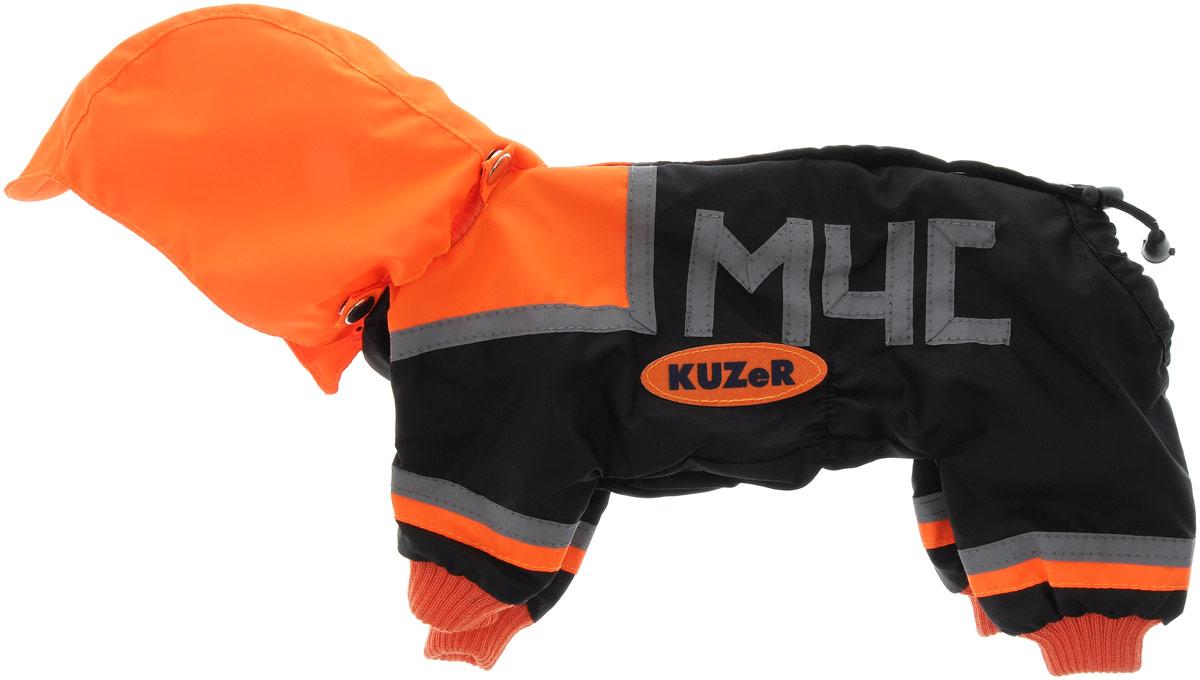 Комбинезон для собак Kuzer-Moda МЧС, для мальчика, двухслойный, цвет: черный, оранжевый. Размер 21KZ001735Комбинезон Kuzer-Moda МЧС предназначен для собак мелких пород. Изделие отлично подойдет для прогулок в прохладную погоду. Комбинезон изготовлен из прочной ткани, которая сохранит тепло и обеспечит отличный воздухообмен. Комбинезон застегивается на кнопки, благодаря чему его легко надевать и снимать. Ворот, низ рукавов и брючин оснащены резинками, которые мягко обхватывают шею и лапки, не позволяя просачиваться холодному воздуху. На пояснице имеются затягивающиеся шнурки, которые также помогают сохранить тепло. Благодаря такому комбинезону простуда не грозит вашему питомцу, и он не даст любимцу продрогнуть на прогулке. Размер: 21. Обхват: груди: 32 см. Обхват шеи: 16 см.