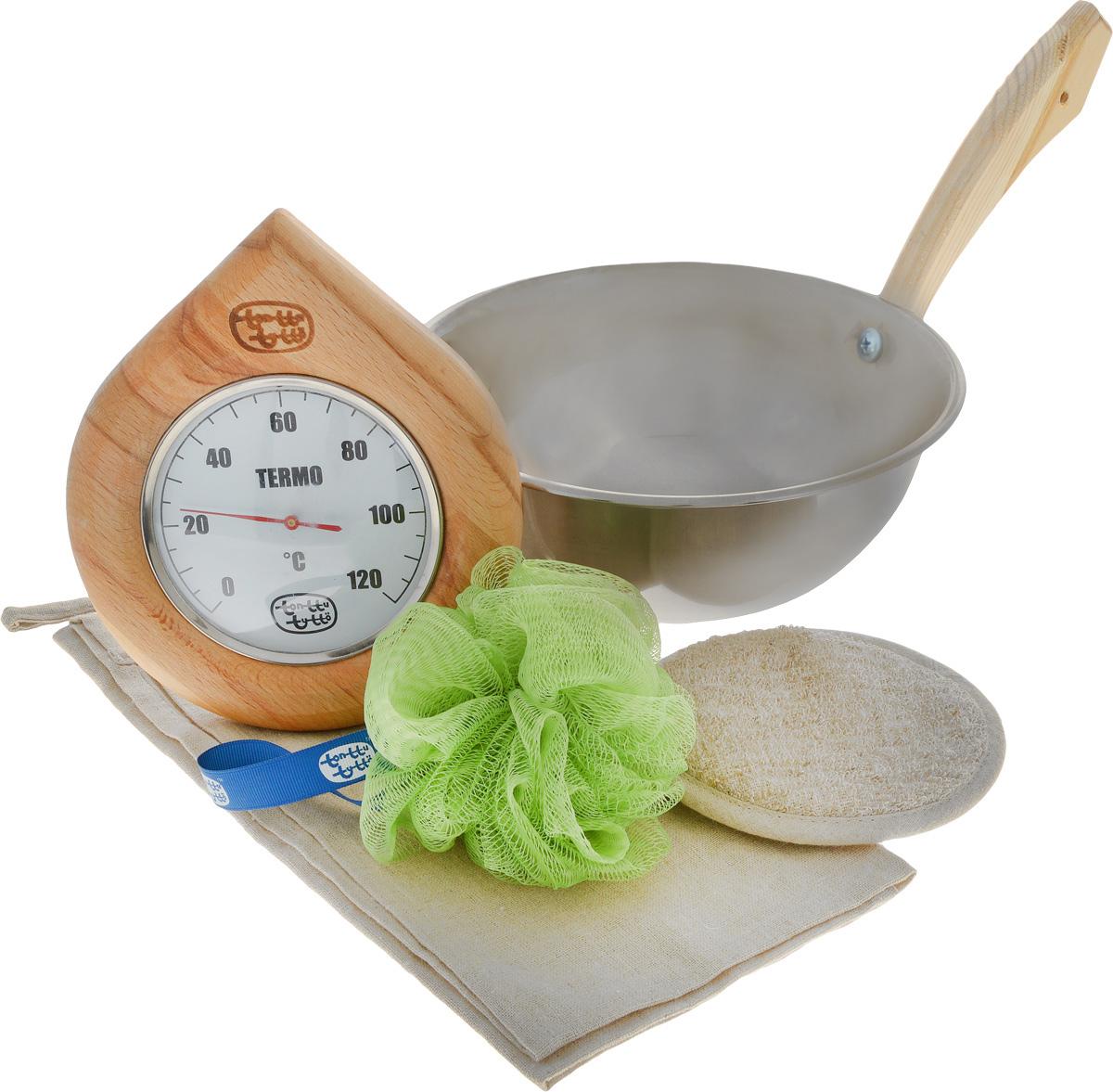 Набор для бани и сауны Доктор Баня Подарочный №3, 5 предметов905712Набор для бани и сауны Доктор Баня Подарочный №3 включает в себя: - Термометр, корпус которого выполнен из древесины. Он покажет температуру и не останется незамеченным для посетителей бани; - Ковш-черпак, изготовленный из металла с деревянной ручкой; - Мочалку, выполненную из льна и хлопка; - Синтетический спонж из нейлона; - Салфетку, изготовленную из льна и хлопка, которая убережет вас от горячей полки. Такой набор поможет с удовольствием и пользой провести время в бане, а также станет чудесным подарком друзьям и знакомым, которые по достоинству его оценят при первом же использовании. Размер салфетки: 44 х 60 см. Диаметр мочалки: 13 см. Диаметр ковша: 22 см. Высота ковша: 9 см. Длина ручки ковша: 18 см.