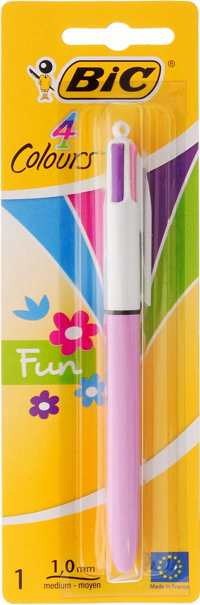 Bic Ручка шариковая Colours Fun 4 в 1 цвет корпуса сиреневыйB887776_розовыйАвтоматическая шариковая ручка Bic Colours Fun - это четырехцветная ручка, позволяющая писать любым из четырех цветов: розовым, голубым, зеленым, фиолетовым. Удобный автоматический механизм, утолщенный корпус.