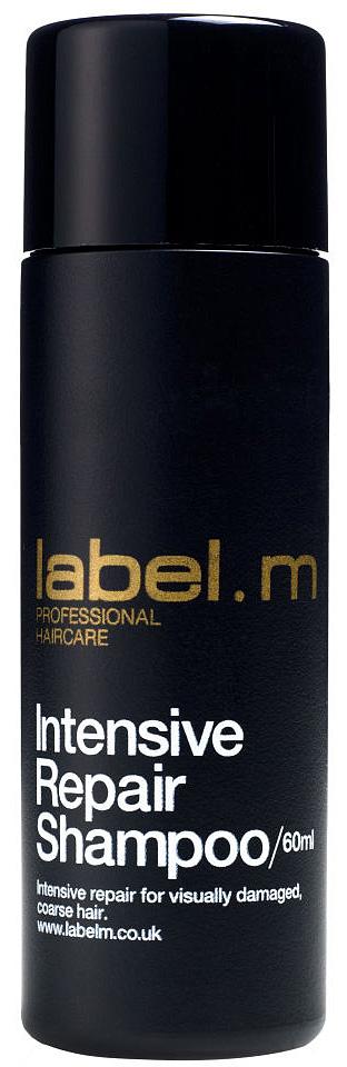 Label.m Шампунь интенсивное восстановление 60 млLSCR0060Богатый питательный шампунь для сухих и поврежденных волос. Содержит комплекс аминокислот сои и овсяных зерен. Интенсивно восстанавливает все три слоя волоса. Эксклюзивный комплекс Enviroshield защищает волосы от термического воздействия во время укладки и от УФ лучей.