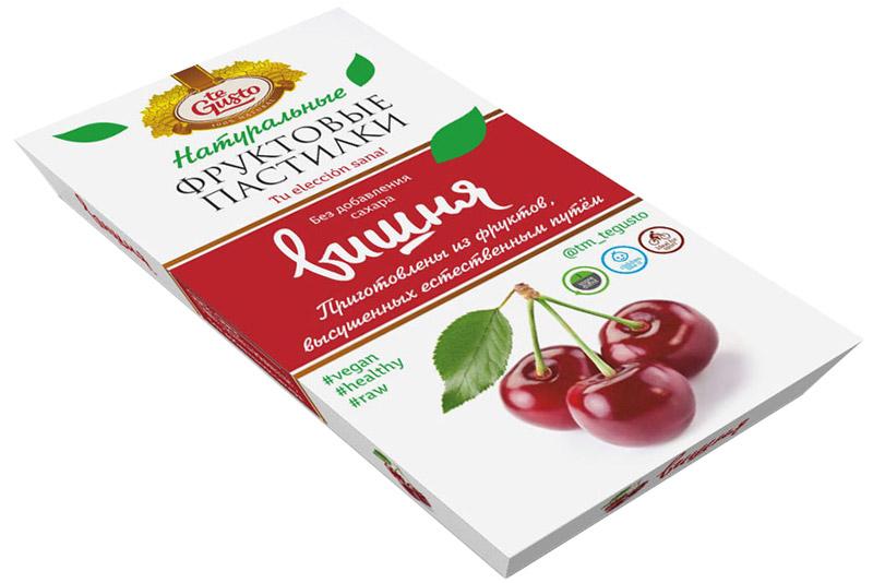 te Gusto Фруктовые пастилки из вишни, 90 г4657155301672Фруктовые пастилки te Gusto без ГМО, глютена, сои, сахара, фруктозы, красителей, усилителей вкуса, загустителей. В составе только один ингредиент – плод, выращенный в экологически чистом районе. Пастилки изготовлены методом солнечной сушки, без консервантов. Особый способ измельчения плодов позволяет сохранить витамины в первозданном виде. Данный продукт создан для людей, ведущих здоровый образ жизни и уделяющих большое внимание своему питанию. Для спортсменов это полезный и питательный перекус, для вегетарианцев – сладость, не содержащая продуктов животного происхождения, для детей – натуральное лакомство, которое единожды попробовав, они предпочитают шоколадкам, и для всех, вне зависимости от возраста и систем питания – здоровый продукт без красителей, консервантов и подсластителей. Укрепляет иммунную систему, способствует поддержанию хорошего физического состояния, нормализует здоровые режимы сна.