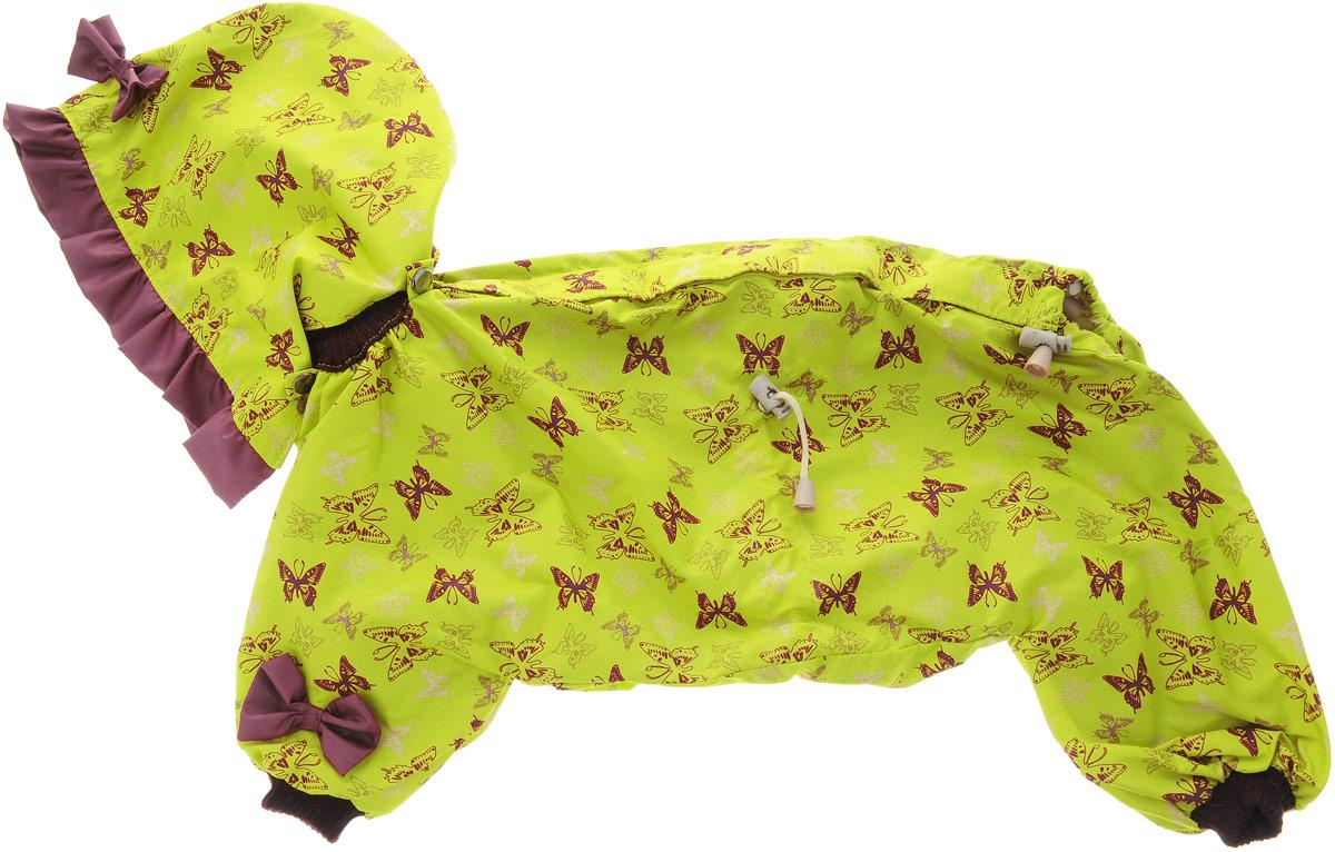 Комбинезон для собак Kuzer-Moda Мариска, для девочки, двухслойный, цвет: желтый, коричневый. Размер 27KZ002251Комбинезон Kuzer-Moda Мариска предназначен для собак мелких пород. Изделие отлично подойдет для прогулок в прохладную погоду. Комбинезон изготовлен из прочной ткани, которая сохранит тепло и обеспечит отличный воздухообмен. Комбинезон застегивается на кнопки и липучки, благодаря чему его легко надевать и снимать. Ворот, низ рукавов и брючин оснащены резинками, которые мягко обхватывают шею и лапки, не позволяя просачиваться холодному воздуху. На пояснице имеются затягивающиеся шнурки, которые также помогают сохранить тепло. Благодаря такому комбинезону простуда не грозит вашему питомцу, и он не даст любимцу продрогнуть на прогулке. Размер: 27. Обхват: груди: 50 см. Обхват шеи: 20 см.