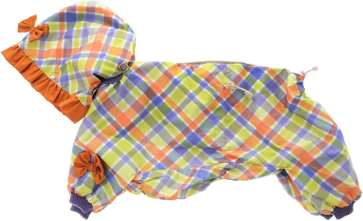 Комбинезон для собак Kuzer-Moda Мариска, для девочки, двухслойный, цвет: салатовый, голубой. Размер LKZ002574_клеткаКомбинезон Kuzer-Moda Мариска предназначен для собак мелких пород. Изделие отлично подойдет для прогулок в прохладную погоду. Комбинезон изготовлен из прочной ткани, которая сохранит тепло и обеспечит отличный воздухообмен. Комбинезон застегивается на кнопки и липучки, благодаря чему его легко надевать и снимать. Ворот, низ рукавов и брючин оснащены резинками, которые мягко обхватывают шею и лапки, не позволяя просачиваться холодному воздуху. На пояснице имеются затягивающиеся шнурки, которые также помогают сохранить тепло. Благодаря такому комбинезону простуда не грозит вашему питомцу, и он не даст любимцу продрогнуть на прогулке. Размер: L. Обхват: груди: 52 см. Обхват шеи: 18 см.