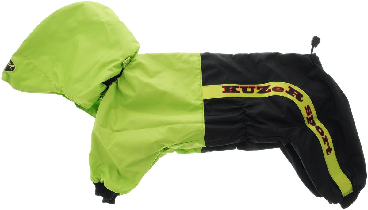 Комбинезон для собак Kuzer-Moda Пилот, для мальчика, двухслойный, цвет: черный, салатовый. Размер LKZ002293Комбинезон Kuzer-Moda Пилот предназначен для собак мелких пород. Изделие отлично подойдет для прогулок в прохладную погоду. Комбинезон изготовлен из прочной ткани, которая сохранит тепло и обеспечит отличный воздухообмен. Комбинезон застегивается на кнопки, благодаря чему его легко надевать и снимать. Ворот, низ рукавов и брючин оснащены резинками, которые мягко обхватывают шею и лапки, не позволяя просачиваться холодному воздуху. На пояснице имеются затягивающиеся шнурки, которые также помогают сохранить тепло. Благодаря такому комбинезону простуда не грозит вашему питомцу, и он не даст любимцу продрогнуть на прогулке. Размер: L. Обхват: груди: 46 см. Обхват шеи: 16 см.