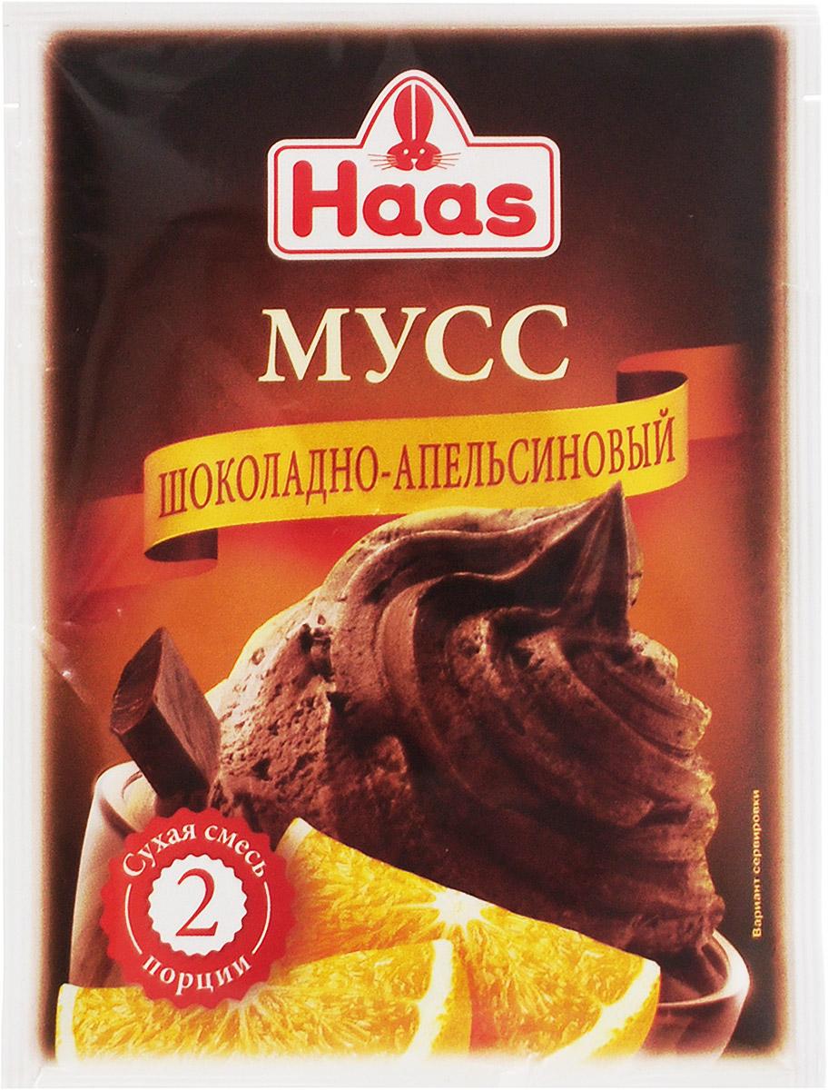 Haas мусс шоколадно-апельсиновый, 65 г240084Муссы Haas - легкие в приготовлении десерты, отличающиеся очень нежной и воздушной консистенцией. Смесь рассчитана на 2 порции.