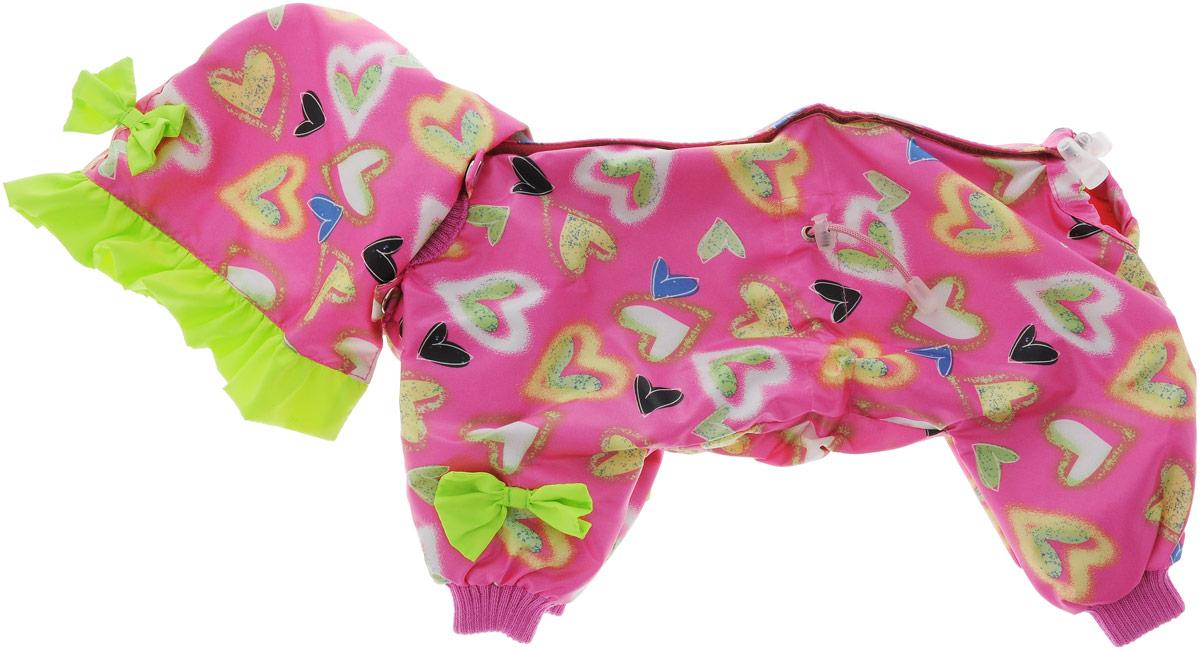 Комбинезон для собак Kuzer-Moda Мариска, для девочки, двухслойный, цвет: розовый, салатовый. Размер 25KZ002352Комбинезон Kuzer-Moda Мариска предназначен для собак мелких пород. Изделие отлично подойдет для прогулок в прохладную погоду. Комбинезон изготовлен из прочной ткани, которая сохранит тепло и обеспечит отличный воздухообмен. Комбинезон застегивается на кнопки и липучки, благодаря чему его легко надевать и снимать. Ворот, низ рукавов и брючин оснащены резинками, которые мягко обхватывают шею и лапки, не позволяя просачиваться холодному воздуху. На пояснице имеются затягивающиеся шнурки, которые также помогают сохранить тепло. Благодаря такому комбинезону простуда не грозит вашему питомцу, и он не даст любимцу продрогнуть на прогулке. Размер: 25. Обхват: груди: 36 см. Обхват шеи: 16 см.