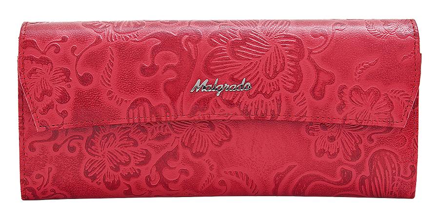Кошелек женский Malgrado, цвет: красный. 75504-1820275504-18202Стильный кошелек Malgrado изготовлен из натуральной кожи красного цвета с декоративным тиснением в виде цветов и вмещает в себя купюры в развернутом виде в полную длину. Внутри содержит семь основных отделений, одно из которых на молнии, девять кармашков для карточек, визиток или кредиток. С оборотной стороны расположен карман. Закрывается кошелек клапаном на кнопку. Кошелек упакован в подарочную металлическую коробку с логотипом фирмы. Такой кошелек станет замечательным подарком человеку, ценящему качественные и практичные вещи. Характеристики: Материал: натуральная кожа, текстиль, металл. Размер кошелька: 19,5 см х 9 см х 2,5 см. Цвет: красный. Размер упаковки: 23 см х 13 см х 4,5 см. Артикул: 75504-18202.