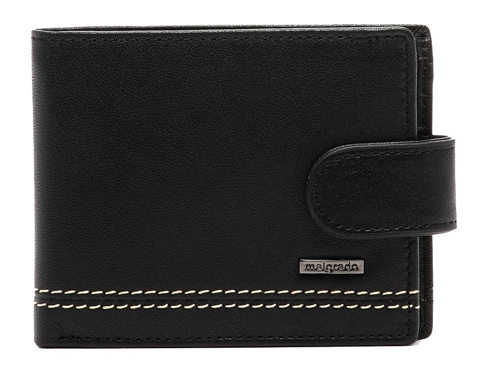 Портмоне Malgrado, цвет: черный. 32001-9-55D Black32001-9-55D BlackПортмоне Malgrado выполнено из высококачественной натуральной кожи черного цвета с логотипом фирмы, украшено двойной строчкой. Портмоне имеет два кармана для купюр, шесть отделений для визиток, два скрытых кармашка. Портмоне закрывается хлястиком на кнопку. Это элегантное портмоне непременно подойдет к вашему образу и порадует простотой, стилем и функциональностью. Портмоне упаковано в коробку из плотного картона с логотипом фирмы. Характеристики: Материал: натуральная кожа, текстиль, металл. Размер портмоне в сложенном виде: 11 см х 8 см х 1 см.