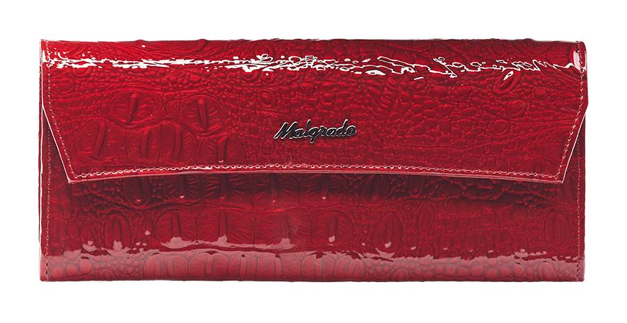 Кошелек женский Malgrado, цвет: красный. 75504-0170175504-01701 RedСтильный женский кошелек Malgrado выполнен из натуральной лакированной кожи с тиснением под рептилию и оформлен металлической фурнитурой с символикой бренда. Изделие закрывается клапаном на кнопку. Внутри расположены три отделения для купюр, отделение для монет на молнии, два накладных кармана, три накладных кармана для пластиковых карт. Снаружи, на тыльной стороне кошелька, расположен накладной карман. Изделие поставляется в фирменной упаковке. Кошелек Malgrado станет отличным подарком для человека, ценящего качественные и практичные вещи.