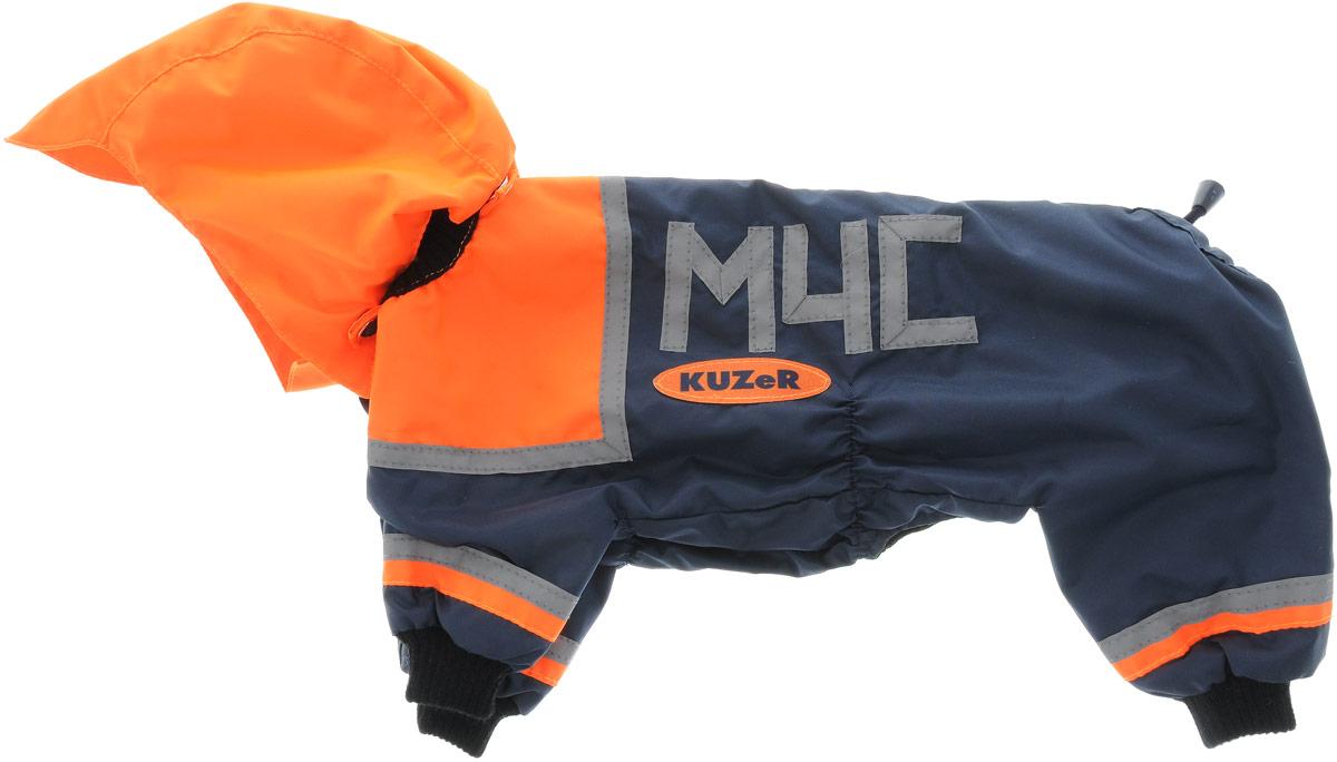 Комбинезон для собак Kuzer-Moda МЧС, для мальчика, двухслойный, цвет: синий, оранжевый. Размер 25KZ000514Комбинезон Kuzer-Moda МЧС предназначен для собак мелких пород. Изделие отлично подойдет для прогулок в прохладную погоду. Комбинезон изготовлен из прочной ткани, которая сохранит тепло и обеспечит отличный воздухообмен. Комбинезон застегивается на кнопки, благодаря чему его легко надевать и снимать. Ворот, низ рукавов и брючин оснащены резинками, которые мягко обхватывают шею и лапки, не позволяя просачиваться холодному воздуху. На пояснице имеются затягивающиеся шнурки, которые также помогают сохранить тепло. Благодаря такому комбинезону простуда не грозит вашему питомцу, и он не даст любимцу продрогнуть на прогулке. Размер: 25. Обхват: груди: 36 см. Обхват шеи: 16 см.