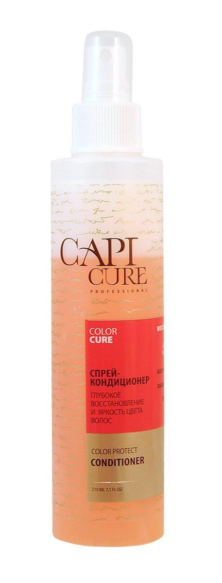 CapiCure Спрей-кондиционер Глубокое восстановление и Яркость цвета волос, 210 мл02045303CapiCure – это система комплексного восстановления волос после длительных и агрессивных повреждений. Все продукты серии предназначены и максимально эффективны для глубинного восстановления волос, дополняют действие друг друга и обеспечивают стойкий результат - увлажненные, живые и блестящие волосы. Благодаря использованию инновационных высокоактивных компонентов и сочетанию двух разных фаз, спрей-кондиционер CapiCure великолепно совмещает в себе несколько функций: Прекрасно кондиционирует волосы, облегчает их расчесывание и укладку, помогает структурировать прическу. Препятствует образованию статического электричества. Термозащитная формула спрея защищает волосы при сушке феном и укладке утюжком. С помощью активных компонентов для защиты цвета спрей-кондиционер CapiCure защищает пигмент окрашенных волос, сохраняет насыщенность и яркость цвета, придает интенсивное сияние волосам. Входящий в состав шампуня специальный защитный комплекс с витаминами Е и В5 обладает антиоксидантной...
