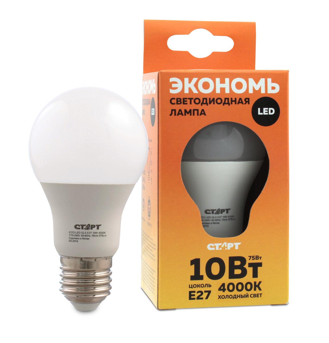 Лампа светодиодная СТАРТ Eco Лон, холодный свет, цоколь E27, 10W10663Лампа светодиодная СТАРТ Eco Лон, холодный свет, цоколь E27, 10W
