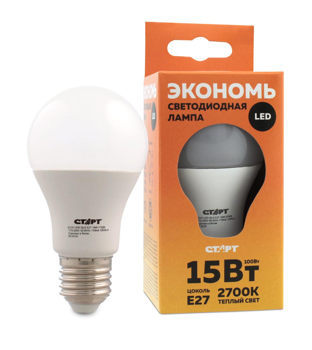 Лампа светодиодная СТАРТ Eco Лон, телпый свет, цоколь E27, 15W10664Лампа светодиодная СТАРТ Eco Лон, телпый свет, цоколь E27, 15W