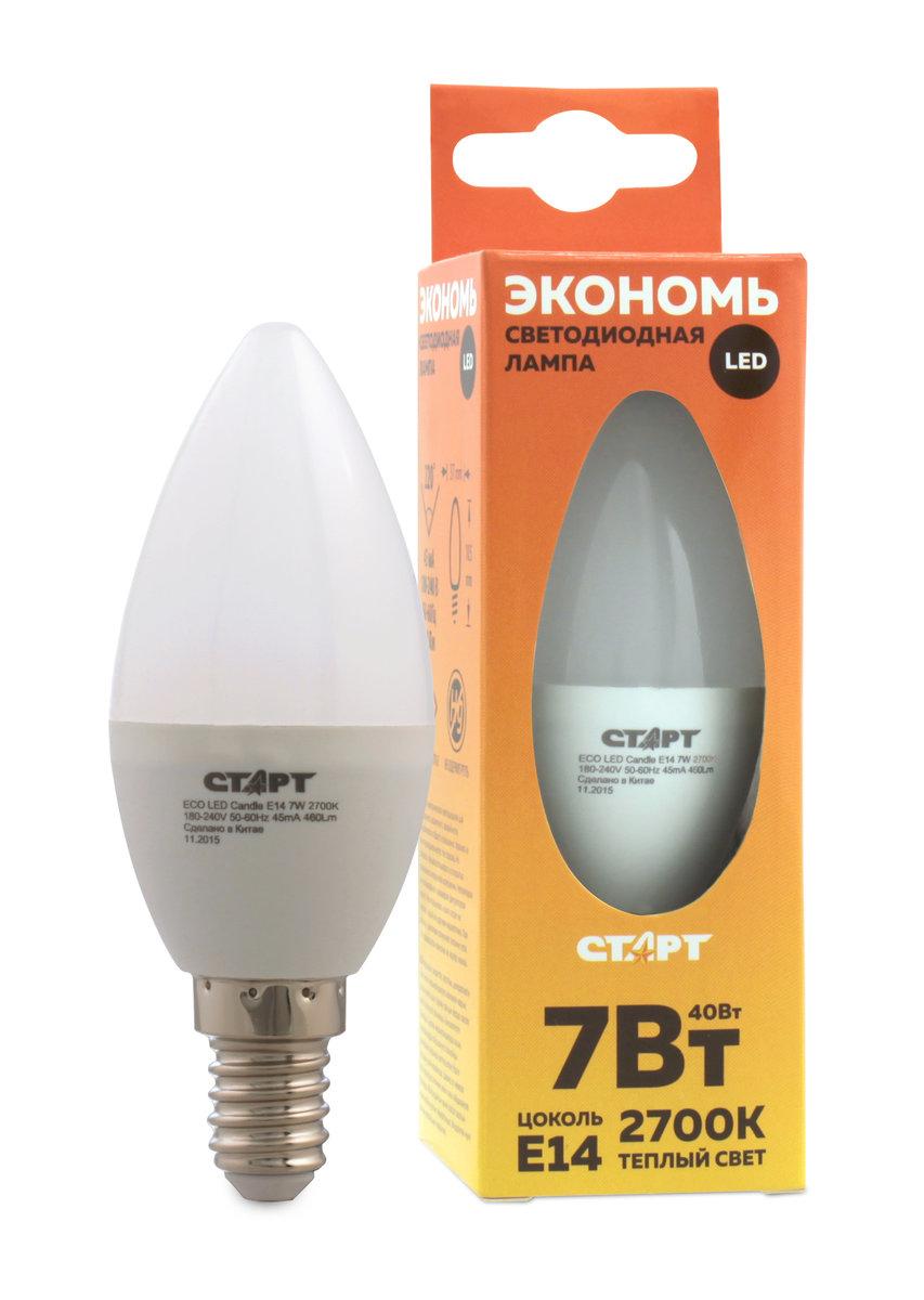 Лампа светодиодная СТАРТ Eco, в форме свечи, телпый свет, цоколь E14, 7W10666Лампа светодиодная СТАРТ Eco, в форме свечи, телпый свет, цоколь E14, 7W