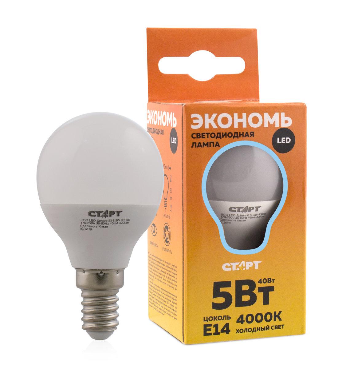 Лампа светодиодная СТАРТ Eco, в форме шарика, холодный свет, цоколь E14, 5W11099Лампа светодиодная СТАРТ Eco, в форме шарика, холодный свет, цоколь E14, 5W