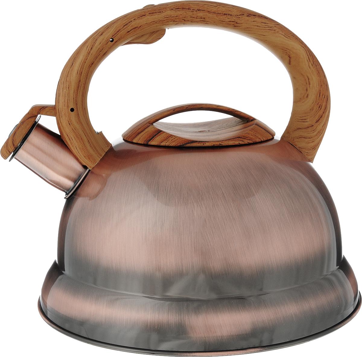 Чайник Bekker, со свистком, цвет: бронзовый, 3,5 л. BK-S413BK-S413/38222Чайник Bekker выполнен из высококачественной нержавеющей стали, что обеспечивает долговечность использования. Внешнее глянцевое покрытие придает приятный внешний вид. Бакелитовая фиксированная ручка делает использование чайника очень удобным и безопасным. Крышка и ручка декорированы под дерево. Чайник снабжен свистком и устройством для открывания носика, которое находится на ручке. Изделие оснащено цельнометаллическим дном, что способствует медленному остыванию чайника. Можно мыть в посудомоечной машине. Пригоден для всех видов плит, включая индукционные. Диаметр чайника по верхнему краю: 9,5 см. Высота чайника (без учета крышки и ручки): 13 см. Высота чайника (с учетом ручки): 20 см.