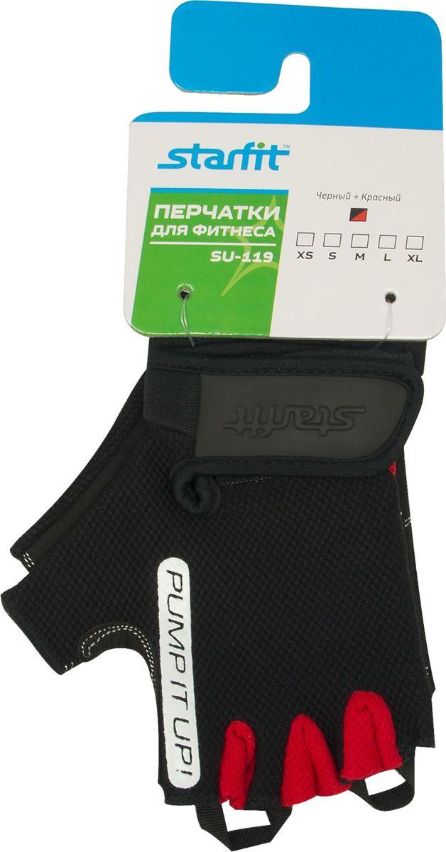 Перчатки для фитнеса Star Fit SU-119, цвет: черный, красный. Размер LУТ-00009554Перчатки для фитнеса SU-119 от бренда STARFIT необходимы для безопасной тренировки со снарядами (грифы, гантели), во время подтягиваний и отжиманий. Они минимизируют риск мозолей и ссадин на ладонях. Характеристики: Материалы: 65% нейлон, 30% полиуретан, 5% эластан Размеры: XS; S; M; L; XL Цвет: черный/красный